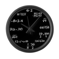 Black Slate Math Large Wall Clock