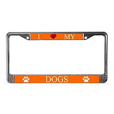 Orange I Love My Dogs License Plate Frame