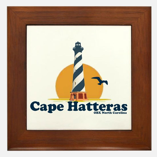 Cape Hatteras NC - Lighthouse Design Framed Tile