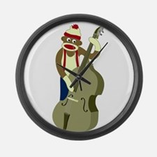 Sock Monkey Upright Bass Large Wall Clock