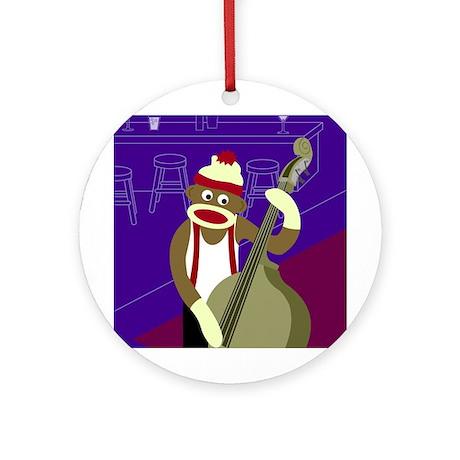 Sock Monkey Upright Bass Ornament (Round)
