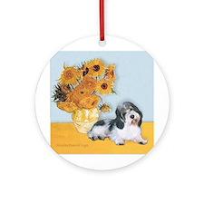 Sunflowers/ Petit Basset #8 Ornament (Round)