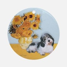 Sunflowers/ Petit Basset #8 Ornament (Round)