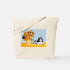 Sunflowers/ Petit Basset #8 Tote Bag