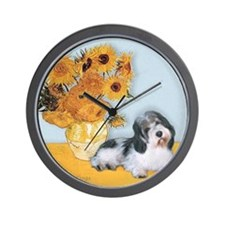 Sunflowers/ Petit Basset #8 Wall Clock