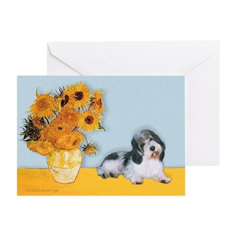 Sunflowers/ Petit Basset #8 Greeting Card