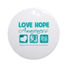 Cervical Cancer LoveHope Ornament (Round)