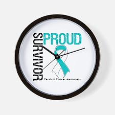 CervicalCancer ProudSurvivor Wall Clock