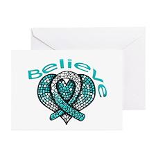 CervicalCancer Believe Greeting Cards (Pk of 20)