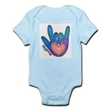 Blue/Pink Glass ILY Hand Infant Creeper