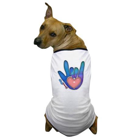 Blue/Pink Glass ILY Hand Dog T-Shirt