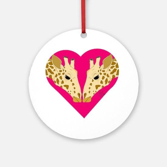 Valentine Giraffe Ornament (Round)