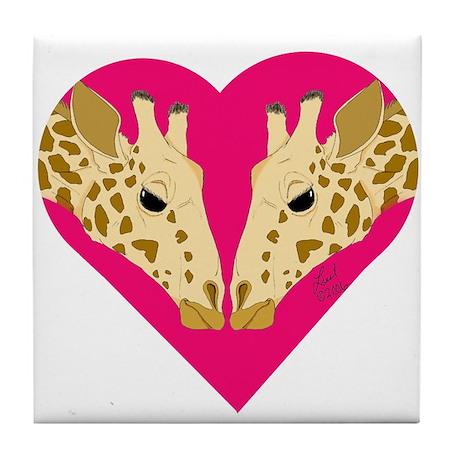 Valentine Giraffe Tile Coaster