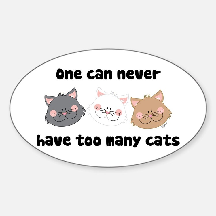 Never Too Many Cats Oval Decal