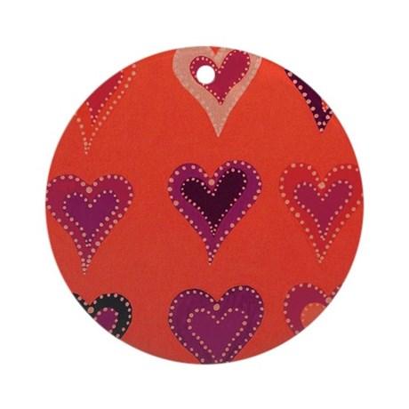 Shimmering Hearts Red Ornament (Round)
