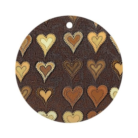 Shimmering Hearts Brown Ornament (Round)