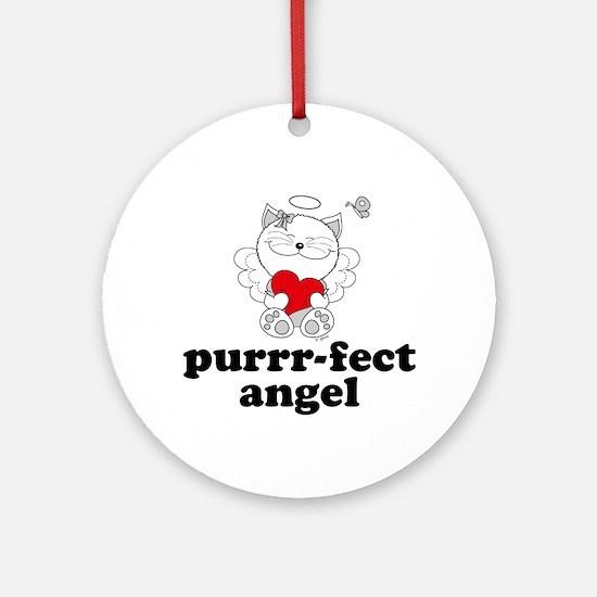 Cat Angel, Perfect Purrr-fect Ornament (Round)