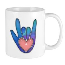 Blue/Pink Glass ILY Hand Mug