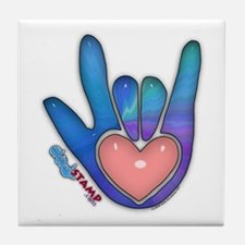Blue/Pink Glass ILY Hand Tile Coaster