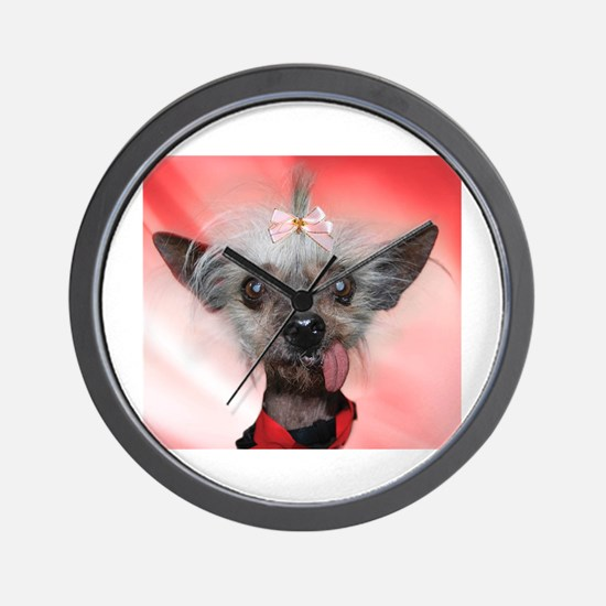 Cute Chinese crested dog Wall Clock