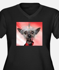 Funny Chinese crested Women's Plus Size V-Neck Dark T-Shirt