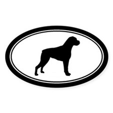 Boxer dog Silhouette Oval Bumper Stickers
