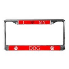 Red I Love My Dog License Plate Frame