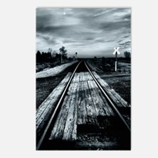 Railroad Tracks in Blue Postcards (Package of 8)