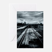 Train Tracks Blue Greeting Cards (Pk of 10)