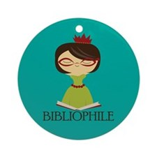 Cute Bibliophile Reading Christmas Ornament