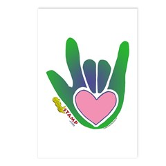 Green/Pink Heart ILY Hand Postcards (Package of 8)