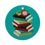 Stylish Stack Of Books Reading Ornament