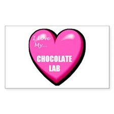 I Love My Chocolate Lab Rectangle Decal