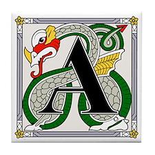 Fantasy dragon art letter A Tile Coaster
