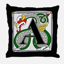 Fantasy dragon art letter A Throw Pillow