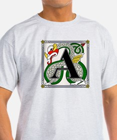 Fantasy dragon art letter A Ash Grey T-Shirt