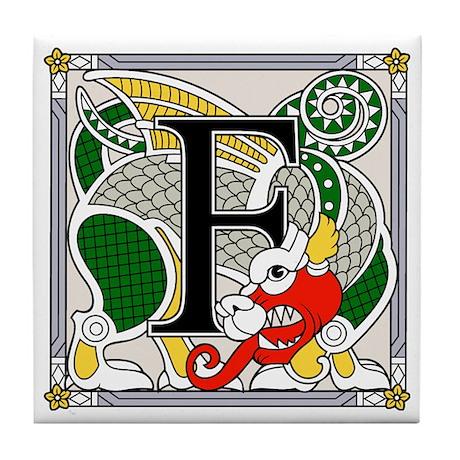 Fantasy dragon art letter F Tile Coaster