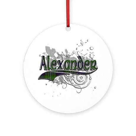 Alexander Tartan Grunge Ornament (Round)