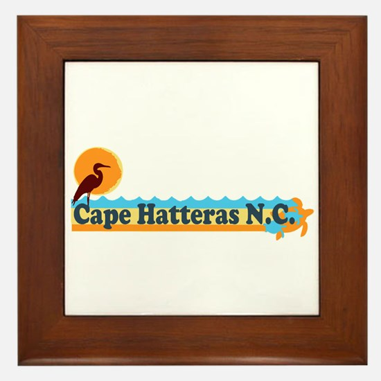 Cape Hatteras NC - Beach Design Framed Tile