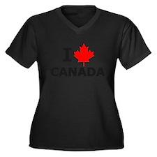 I Leaf Canada Women's Plus Size V-Neck Dark T-Shir