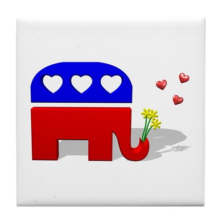 GOP Elephant Love Tile Coaster