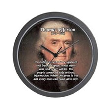 Safety Freedom President Jefferson Wall Clock