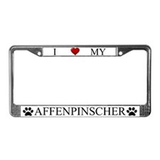 White I Love My Affenpinscher License Plate Frame