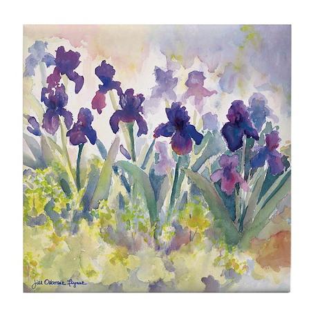 """Purple Irises 4.5"""" Tile Art/Coaster"""