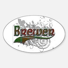 Brewer Tartan Grunge Sticker (Oval)
