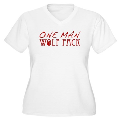 One Man Wolf Pack - Red Women's Plus Size V-Neck T