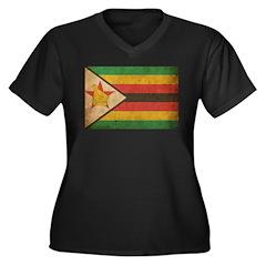 Vintage Zimbabwe Women's Plus Size V-Neck Dark T-S