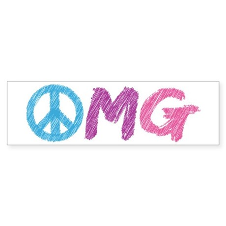 OMG Peace Sign Sticker (Bumper)
