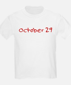 """October 29"" printed on a T-Shirt"