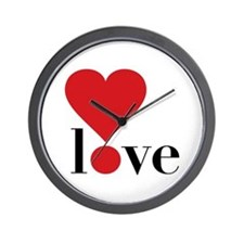 Love! in Red Wall Clock